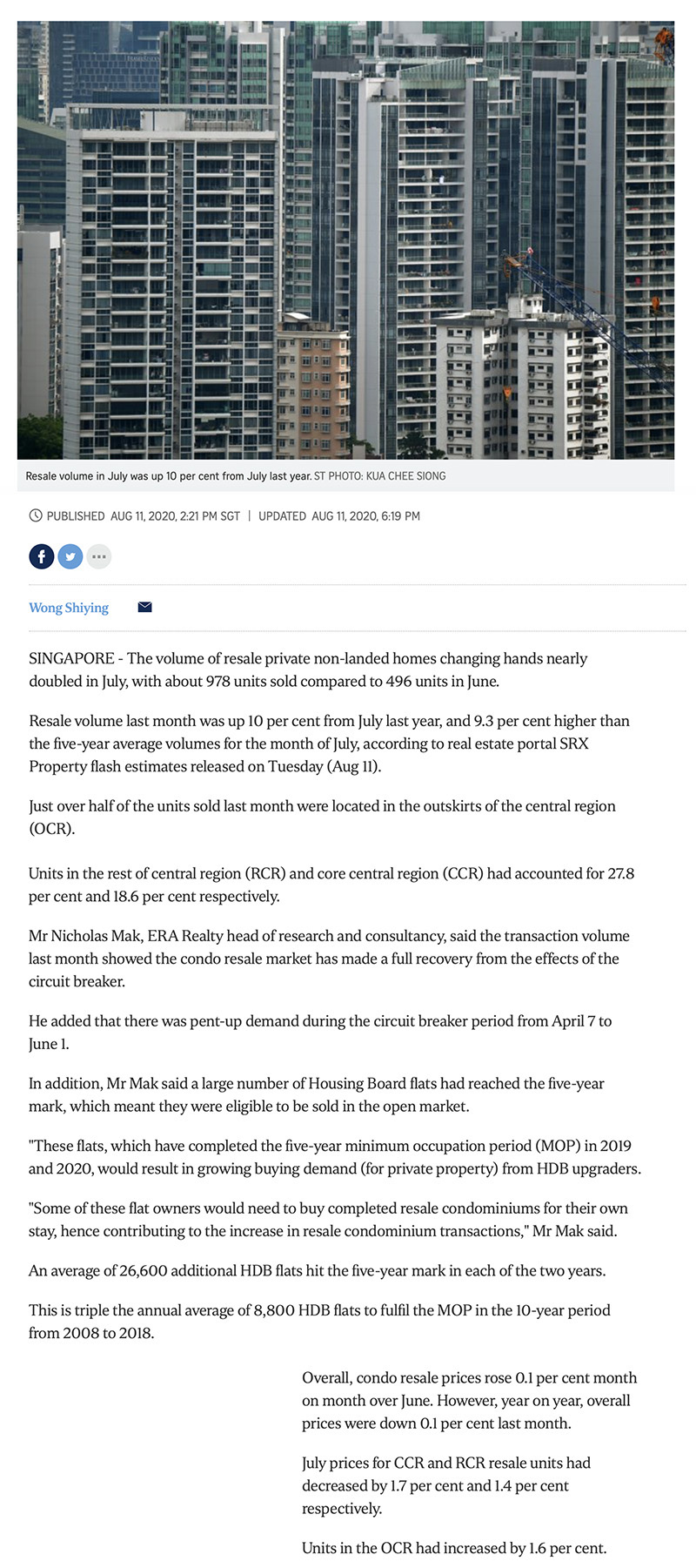 One Pearl Bank - Condo resales rebound after circuit breaker; July volume nearly double that of June 1
